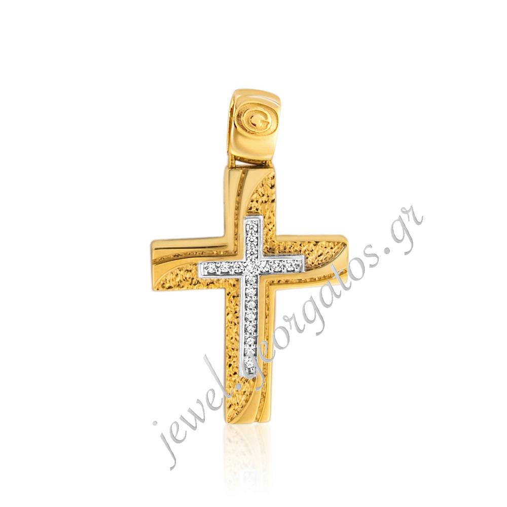 6b26ab7e91e Georgatos Jewel : Σταυρός γυναικείος διπλής όψεως σε Χρυσό 14Κ με ...